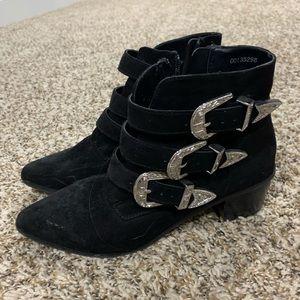 Black suede booties - worn once